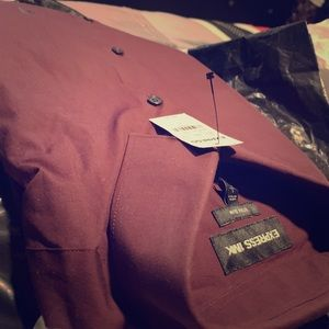 Extra slim express 1Mx burgundy dress shirt